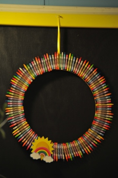 Door wreath? made out of crayons